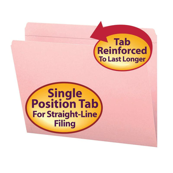 Smead File Folder, Reinforced Straight-Cut Tab, Letter Size, Pink, 100 per Box (12610)