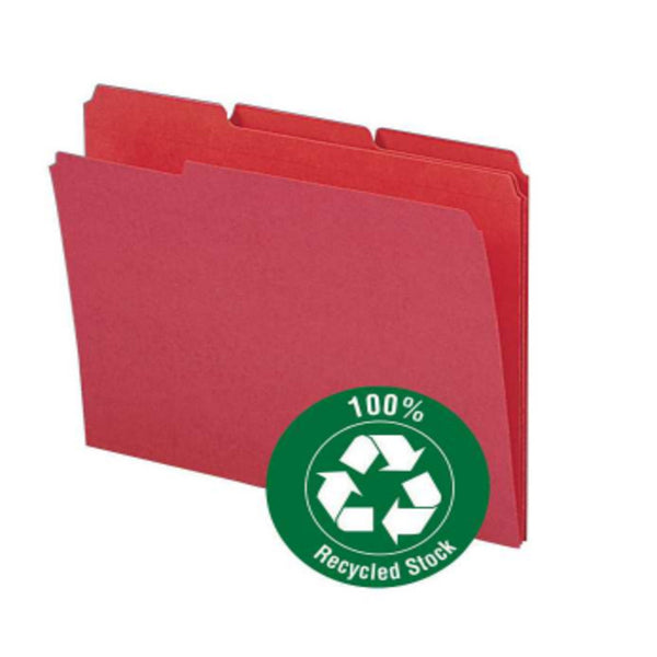 Smead 100% Recycled File Folder, Reinforced 1/3-Cut Tab, Letter Size, Red, 100 per Box (12738)