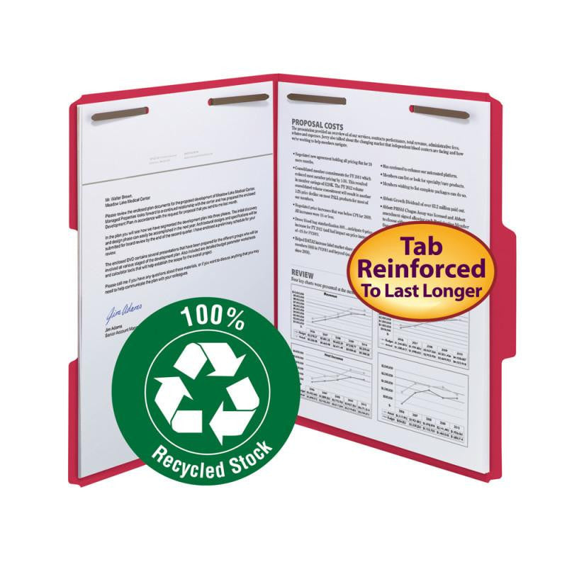 Smead 100% Recycled Fastener File Folder, 2 Fasteners, Reinforced 1/3-Cut Tab, Letter Size, Red, 50 per Box (12741)