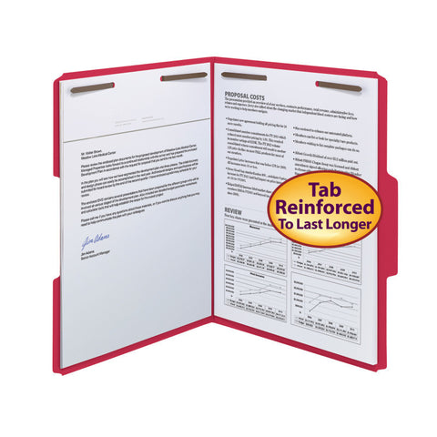 Smead WaterShed®/CutLess® Fastener File Folder, 2 Fasteners, Reinforced 1/3-Cut Tab, Letter Size, Red, 50 per Box (12742)