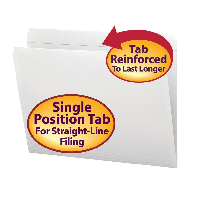 Smead File Folder, Reinforced Straight-Cut Tab, Letter Size, White, 100 per Box (12810)