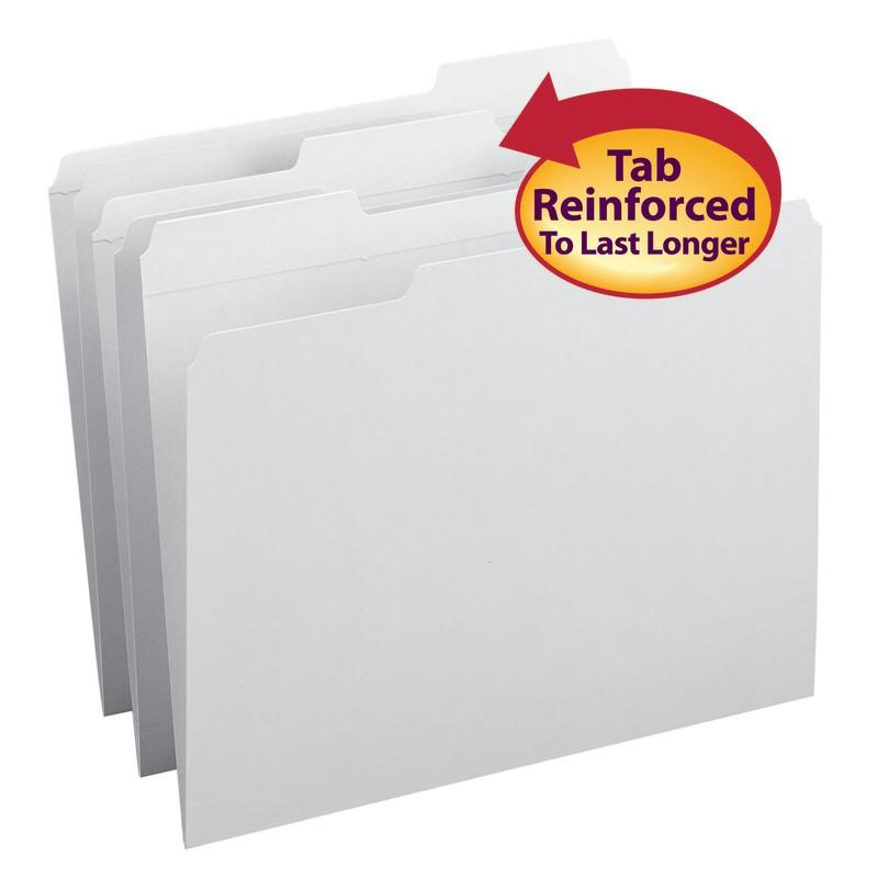 Smead File Folder, Reinforced 1/3-Cut Tab, Letter Size, White, 100 per Box (12834)