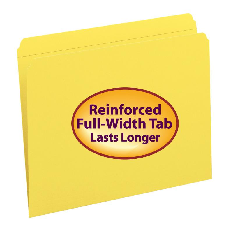 Smead File Folder, Reinforced Straight-Cut Tab, Letter Size, Yellow, 100 per Box (12910)