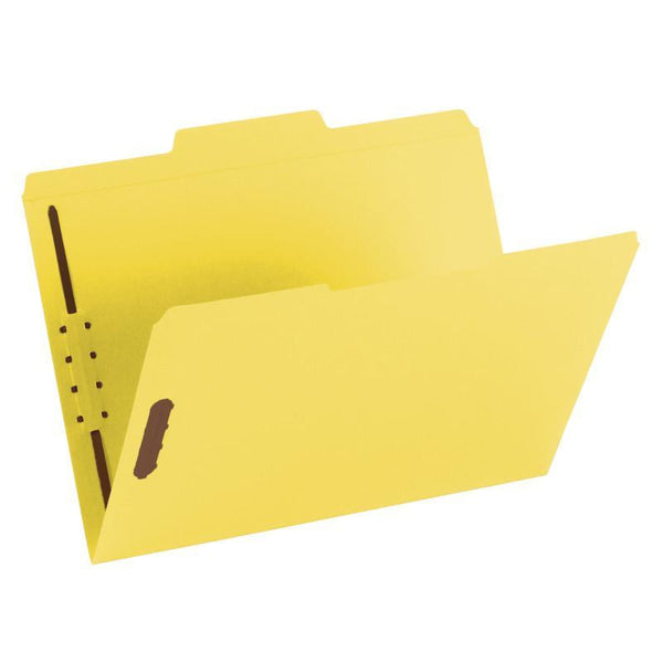 Smead Fastener File Folder, 2 Fasteners, Reinforced 1/3-Cut Tab, Letter Size, Yellow, 50 per Box (12940)