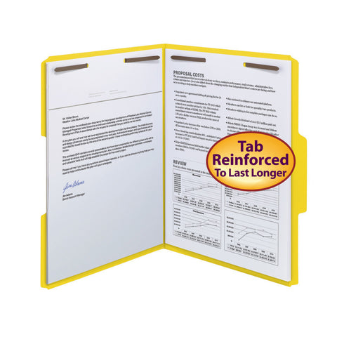 Smead WaterShed®/CutLess® Fastener File Folder, 2 Fasteners, Reinforced 1/3-Cut Tab, Letter Size, Yellow, 50 per Box (12942)