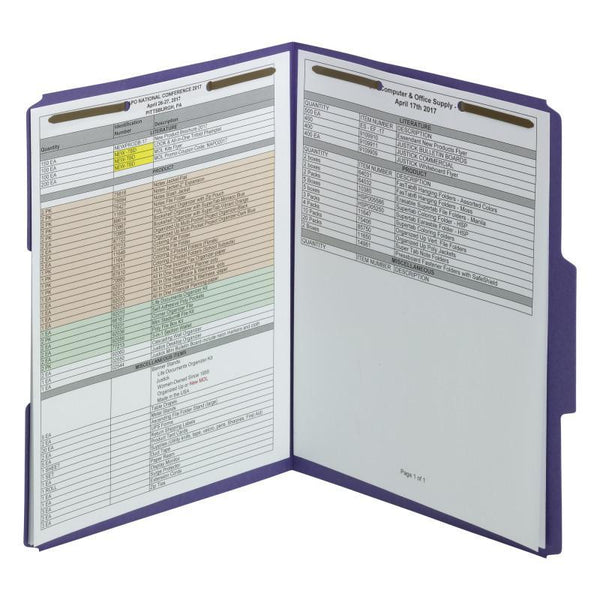 Smead Fastener File Folder, 2 Fasteners, Reinforced 1/3-Cut Tab, Letter Size, Purple, 50 per Box (13040)