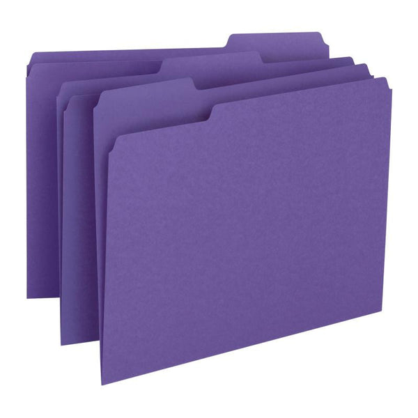 Smead File Folder, 1/3-Cut Tab, Letter Size, Purple, 100 per Box (13043)