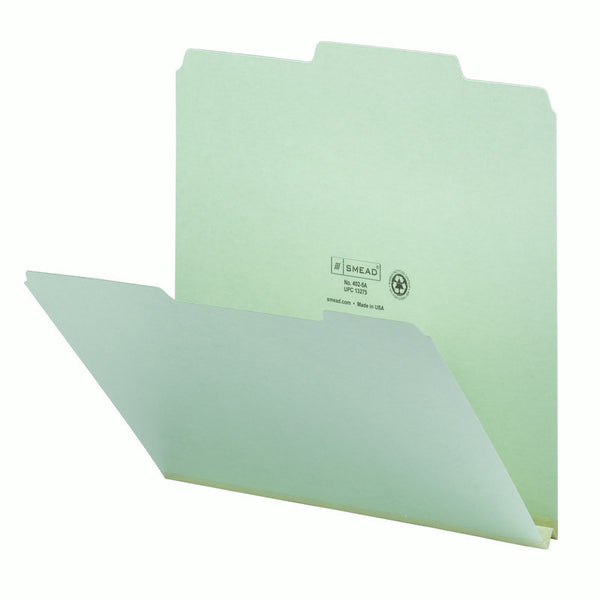 "Box of 25 Smead Pressboard File Folders, 2/5-Cut Tab Right of Center Position, Guide Height, 1"" Expansion, Letter Size, Gray/Green (13275)"