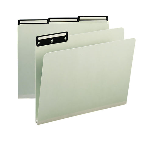 "Box of 25 Smead Pressboard File Folder, 1/3-Cut Tab Flat Metal, 1"" Expansion, Letter Size, Gray/Green (13430)"