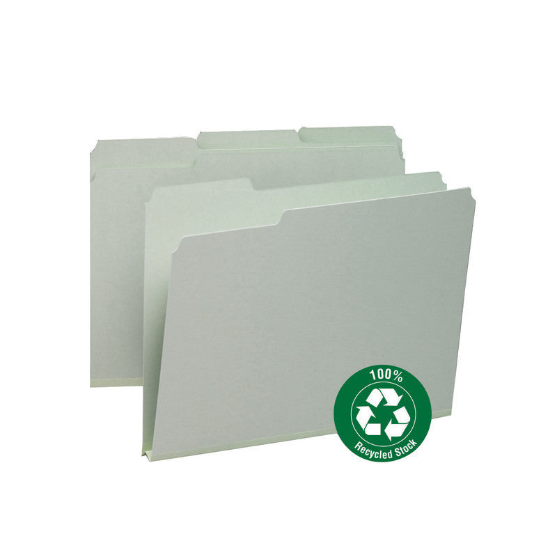 "Smead 100% Recycled Pressboard File Folder, 1/3-Cut Tab, 1"" Expansion, Letter Size, Gray/Green, 25 per Box (13500)"