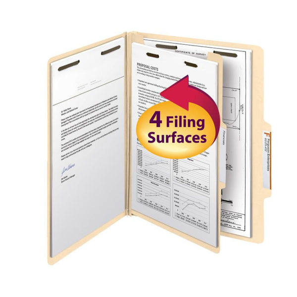 "Smead Classification File Folder, 1 Divider, 2"" Expansion, Letter Size, Manila, 10 per Box (13700)"