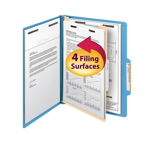 "Smead Classification File Folder, 1 Divider, 2"" Expansion, Letter Size, Blue, 10 per Box (13701)"