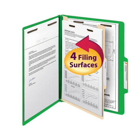 "Smead Classification File Folder, 1 Divider, 2"" Expansion, Letter Size, Green, 10 per Box (13702)"