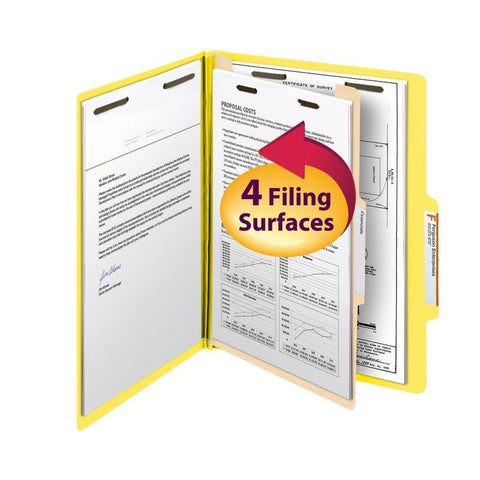 "Smead Classification File Folder, 1 Divider, 2"" Expansion, Letter Size, Yellow, 10 per Box (13704)"