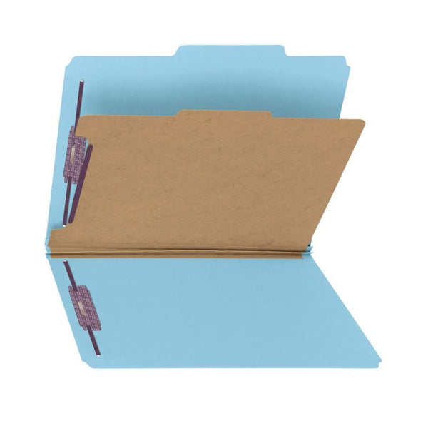 "Smead Pressboard Classification File Folder with SafeSHIELD® Fasteners, 1 Divider, 2"" Expansion, Letter Size, Blue, 10 per Box (13730)"