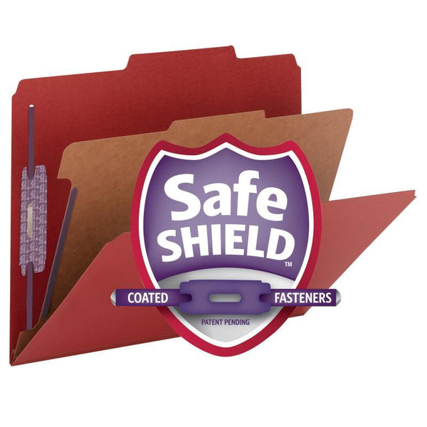 "Smead Pressboard Classification File Folder with SafeSHIELD® Fasteners, 1 Divider, 2"" Expansion, Letter Size, Bright Red, 10 per Box (13731)"