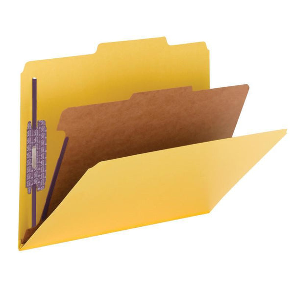 "Smead Pressboard Classification Folder with SafeSHIELD® Fasteners, 1 Divider, 2"" Expansion, Letter Size, Yellow, 10 per Box (13734)"