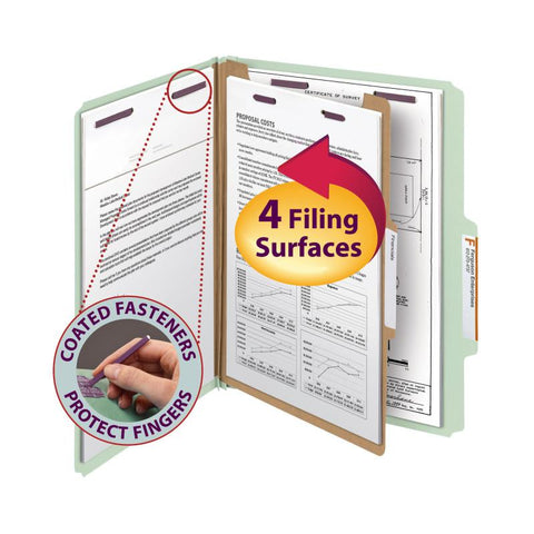 "Smead Pressboard Classification File Folder with SafeSHIELD® Fasteners, 1 Divider, 2"" Expansion, Letter Size, Gray/Green, 10 per Box (13776)"