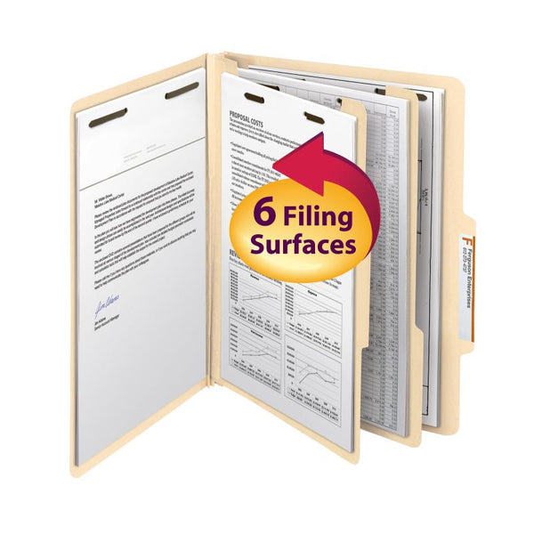 "Smead Classification File Folder, 2 Divider, 2"" Expansion, Letter Size, Manila, 10 per Box (14000)"