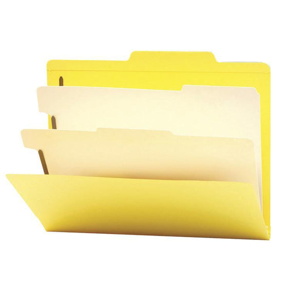 "Smead Classification File Folder, 2 Divider, 2"" Expansion, Letter Size, Yellow, 10 per Box (14004)"