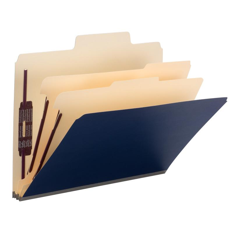 "Smead SuperTab® Classification Folder, Oversized Tab, 2 Dividers, 2"" Expansion, Letter Size, Dark Blue, 10 per Box (14010)"