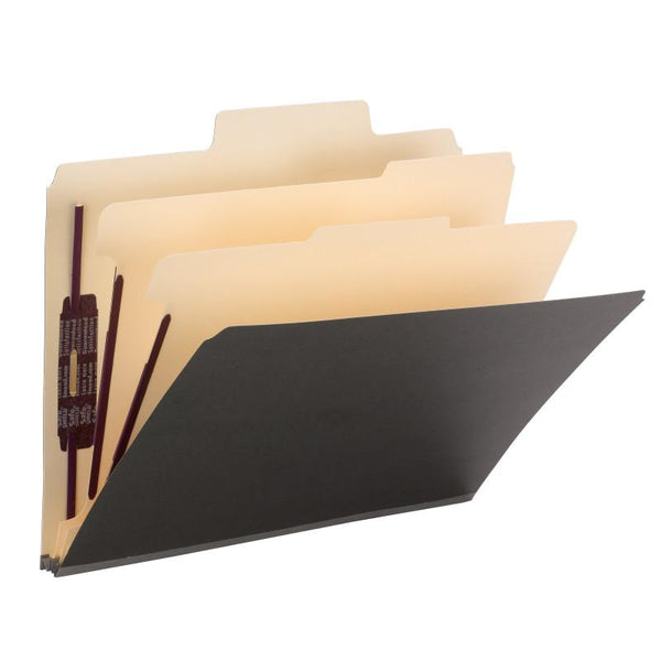 "Smead SuperTab® Classification Folder, Oversized Tab, 2 Dividers, 2"" Expansion, Letter Size, Dark Gray, 10 per Box (14011)"