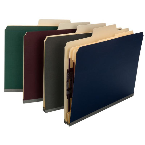 "Smead SuperTab® Classification Folder, Oversized Tab, 2 Dividers, 2"" Expansion, Letter Size, Maroon, 10 per Box (14013)"
