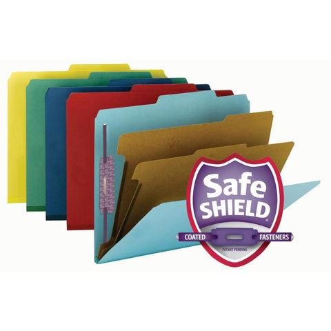 "Smead Pressboard Classification File Folder with SafeSHIELD® Fasteners, 2 Dividers, 2"" Expansion, Letter Size, Assorted Colors, 10 per Box (14025)"