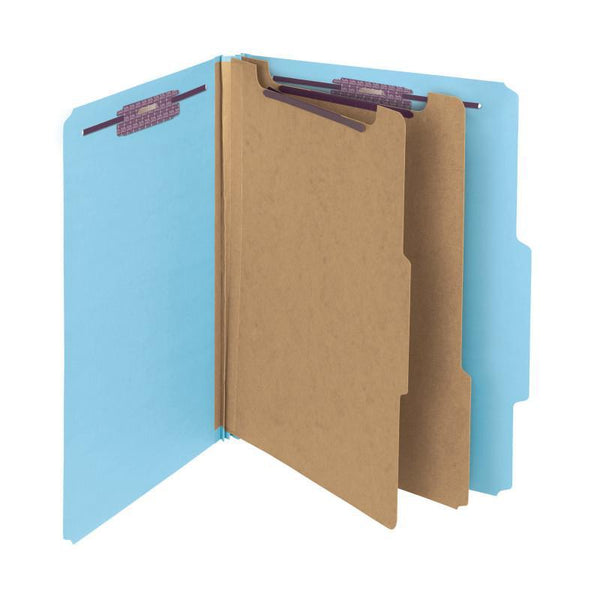 "Smead Pressboard Classification File Folder with SafeSHIELD® Fasteners, 2 Dividers, 2"" Expansion, Letter Size, Blue, 10 per Box (14030)"