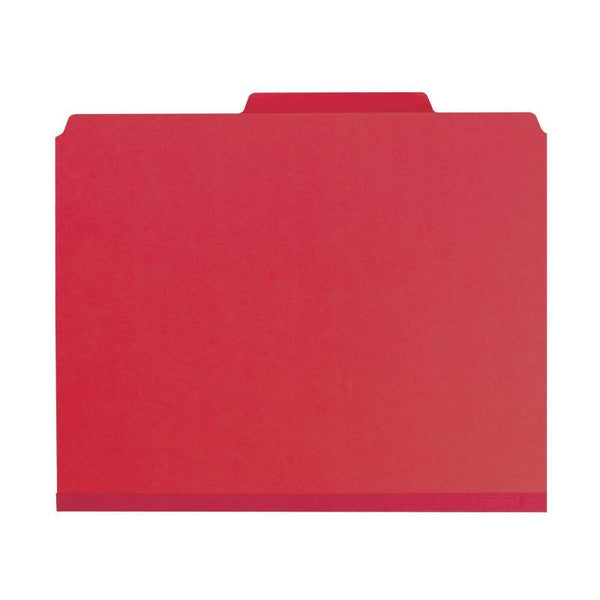 "Smead Pressboard Classification File with SafeSHIELD® Fasteners, 2 Dividers, 2"" Expansion, Letter Size, Bright Red, 10 per Box (14031)"