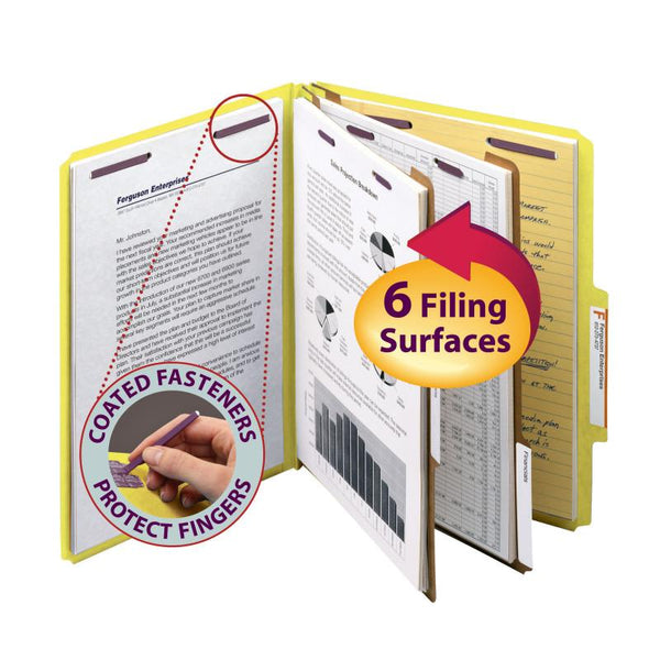 "Smead Pressboard Classification File Folder with SafeSHIELD® Fasteners, 2 Dividers, 2"" Expansion, Letter Size, Yellow, 10 per Box (14034)"