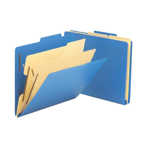 Smead Poly Classification Folder, 2 Dividers, Letter Size, Blue, 10 per Box (14045)