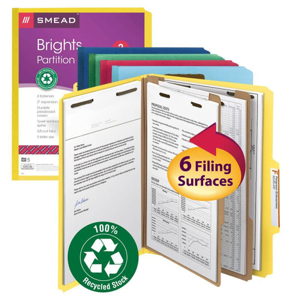 "Smead 100% Recycled Pressboard Classification Folder, 2 Dividers, 2"" Expansion, Letter Size, Assorted Colors, 5 per Pack (14049)"