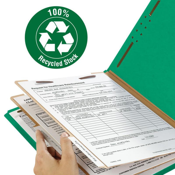 "Smead 100% Recycled Pressboard Classification Folder, 2 Dividers, 2"" Expansion, Letter Size, Green, 5 per Pack (14057)"
