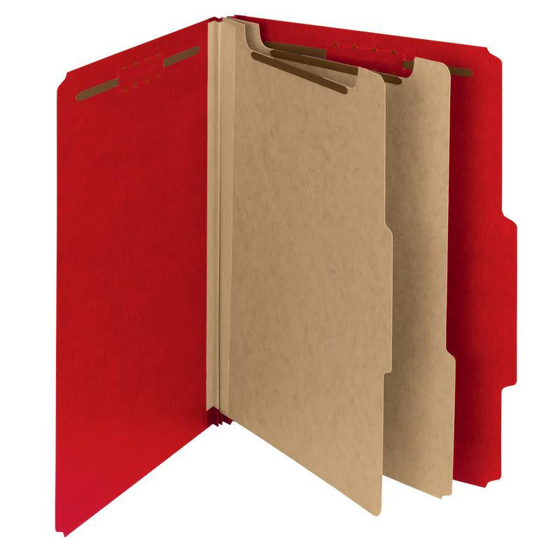 "Smead 100% Recycled Pressboard Classification Folder, 2 Dividers, 2"" Expansion, Letter Size, Bright Red, 10 per Box (14061)"