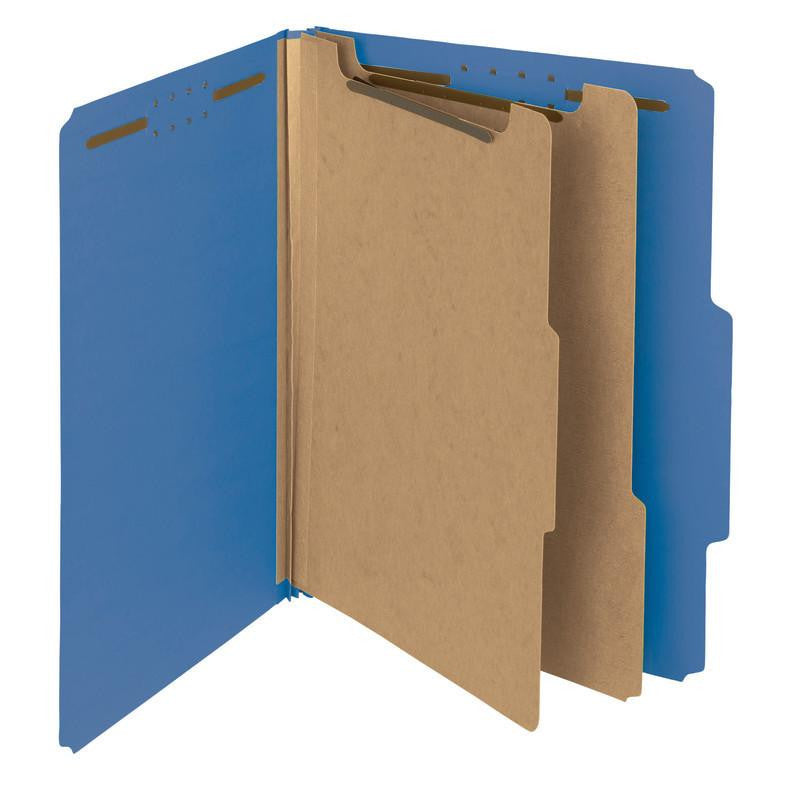 "Smead 100% Recycled Pressboard Classification Folder, 2 Dividers, 2"" Expansion, Letter Size, Dark Blue, 10 per Box (14062)"