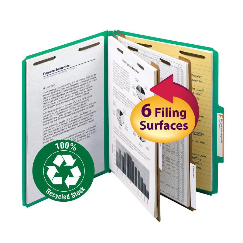 "Smead 100% Recycled Pressboard Classification Folder, 2 Dividers, 2"" Expansion, Letter Size, Green, 10 per Box (14063)"