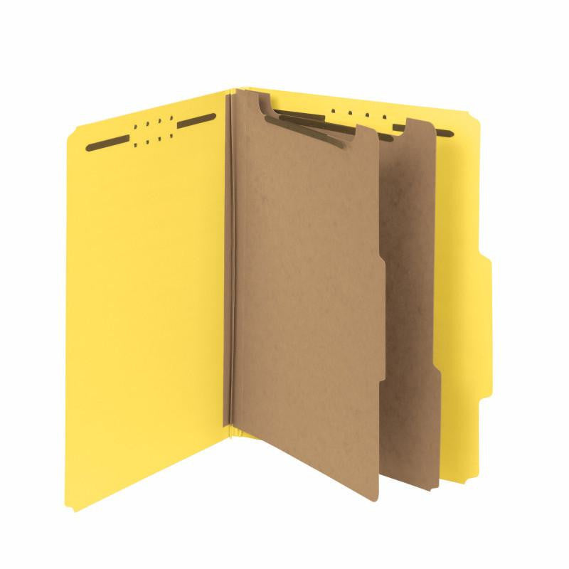 "Smead 100% Recycled Pressboard Classification Folder, 2 Dividers, 2"" Expansion, Letter Size, Yellow, 10 per Box (14064)"