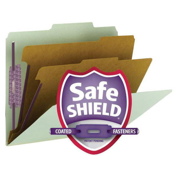 "Smead Pressboard Classification Folder with SafeSHIELD® Fasteners, 2 Dividers, 2"" Expansion, Letter Size, Gray/Green, 10 per Box (14076)"