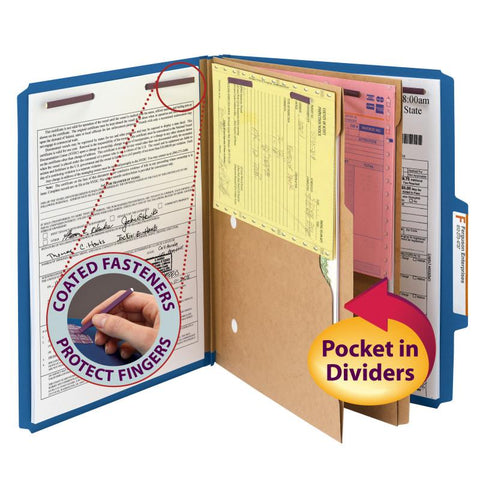 "Smead Pressboard Classification Folder with Pocket Divider and SafeSHIELD® Fasteners, 2 Dividers, 2"" Expansion, Letter Size, Dark Blue, 10 per Box (14077)"