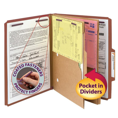"Smead Pressboard Classification Folder with Pocket Divider and SafeSHIELD® Fasteners, 2 Dividers, 2"" Expansion, Letter Size, Red, 10 per Box  (14079)"