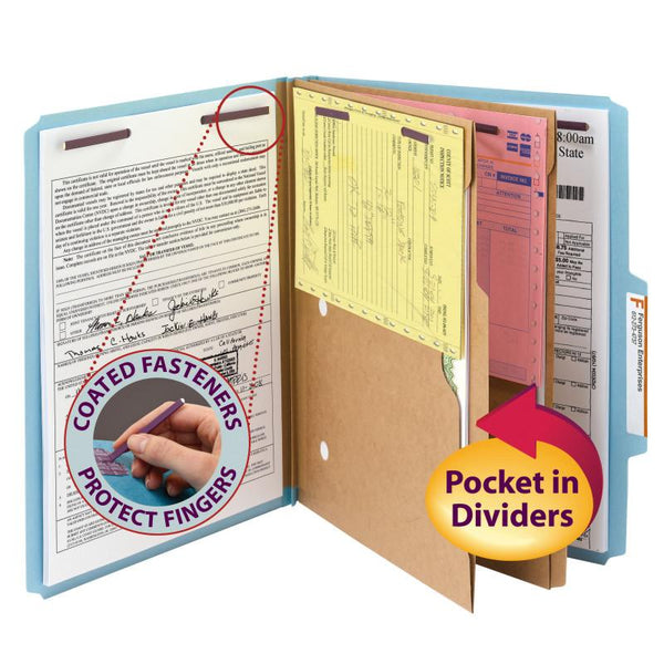 "Smead Pressboard Classification Folder with Pocket Divider and SafeSHIELD® Fasteners, 2 Dividers, 2"" Expansion, Letter Size, Blue, 10 per Box (14081)"