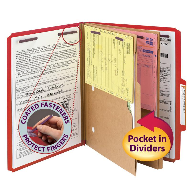 "Smead Pressboard Classification Folder with Pocket Divider and SafeSHIELD® Fasteners, 2 Dividers, 2"" Expansion, Letter Size, Bright Red, 10 per Box (14082)"