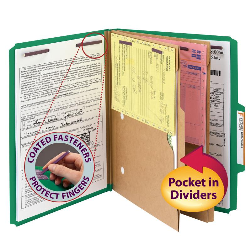 "Smead Pressboard Classification Folder with Pocket Divider and SafeSHIELD® Fasteners, 2 Dividers, 2"" Expansion, Letter Size, Green, 10 per Box  (14083)"