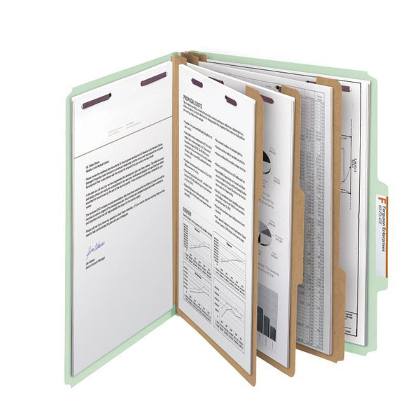 "Smead Pressboard Classification File Folder with SafeSHIELD® Fasteners, 3 Dividers, 3"" Expansion, Letter Size, Gray/Green, 10 per Box  (14091)"