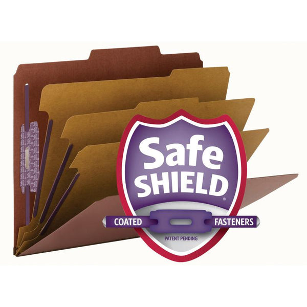 "Smead Pressboard Classification File Folder with SafeSHIELD® Fasteners, 3 Dividers, 3"" Expansion, Letter Size, Red, 10 per Box  (14092)"