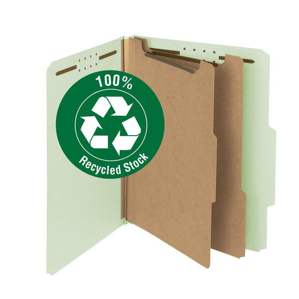 "Smead 100% Recycled Pressboard Classification File Folder, 3 Dividers, 3"" Expansion, Letter Size, Gray/Green, 10 each per Box  (14093)"
