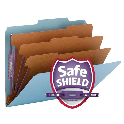 "Smead Pressboard Classification File Folder with SafeSHIELD® Fasteners, 3 Dividers, 3"" Expansion, Letter Size, Blue, 10 per Box  (14094)"