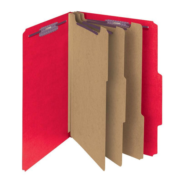 "Smead Pressboard Classification File Folder with SafeSHIELD® Fasteners, 3 Dividers, 3"" Expansion, Letter Size, Bright Red, 10 per Box (14095)"