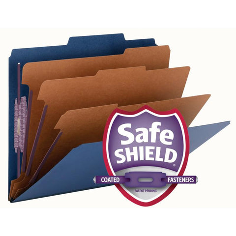 "Smead Pressboard Classification File Folder with SafeSHIELD® Fasteners, 3 Dividers, 3"" Expansion, Letter Size, Dark Blue, 10 per Box  (14096)"